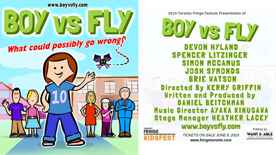 The poster for Boy vs Fly - the Fringe show in which I'm performing this summer.  It's a bright photo with a cartoon image of the cast. Next to it is the title of the show, along with names of cast and crew.